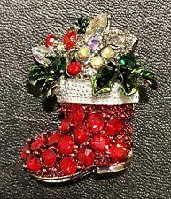 ~Stocking Silver Tone Rhinestones Nwt Holiday Brooch/Pins Christmas Xmas