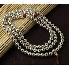 6mm Tibet Buddhism 108 Tibetan silver Bead Mala Necklace