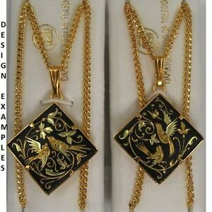 Damascene Gold Diamond Shape Dove of Peace Pendant Necklace by Midas of Spain