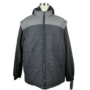 Men's Size 4X Puffer Style Jacket Machine Custom Co Hooded Multi-Toned Dark Gray