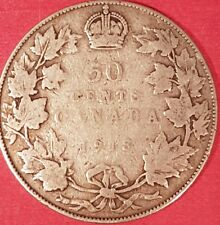 1918 Silver Canadian 50 Cent Coin  ID #94-10