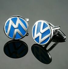VW Silver and Blue Cufflinks Formal Wedding Business Gift for Suit Shirt Party