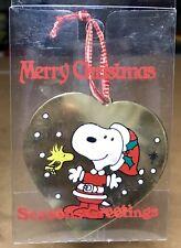 Vintage 1965 Peanuts Snoopy Woodstock 2.75� Gold Heart Metal Ornament Christmas