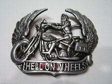 Hell on Wheels Rebel Skeleton Chopper Motorcycle Biker Rider Belt Buckle Large