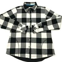 Orvis Women's Snap Flannel Shirt Lined Black White Plaid Size Small