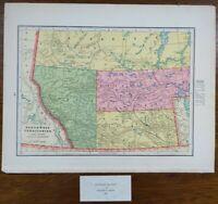 """Vintage 1900 NORTHWEST TERRITORIES Map 11""""x14"""" ~ Old Antique Original CALGARY"""