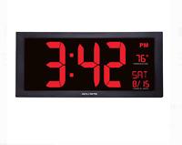 18inch Jumbo Digit Calendar Clock Indoor Temperature Extra-Large Led Screen RED