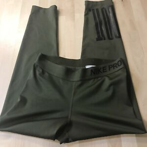 womens nike pro leggings small olive green worn once! just do it