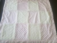Kyle & Deena Pink White Minky Security Baby Blanket Soft Plush Lovey Lovie