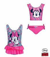 Girls Official Disney Minnie Mouse Swimwear Swimsuit Swimming Costume Or Bikini