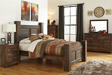 NEW Cottage Style Warm Brown Bedroom Furniture - 5pcs King Poster Bed Set IA0K
