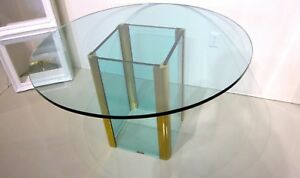 PACE COLLECTION By Leon Rosen Brass & Glass DINING ROOM TABLE ORIGINAL VINTAGE