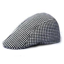 Adult Unisex Flat Cap Houndstooth Tweed Country Beret Hat Black
