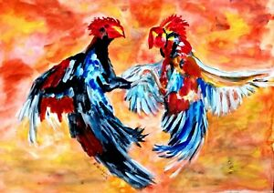 PHILIPPINE COCK FIGHTING SCENE - CHICKENS - ORIGINAL WATERCOLOR PAINTING