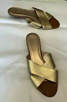 "Circa Joan & David Women's Shoes Gold Leather Open Toe Slide 1.5"" Heel Size 8M"