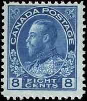 Canada #115 mint F-VF OG NH 1925 King George V 8c blue Admiral CV$110.00