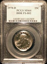 1970-D Washington Quarter - Double Die - DDR FS-802 PCGS MS64 Free Shipping!