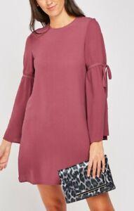 Primark Tie-up Sleeves Tunic Dress Plum NEW + Plus Sizes 4-6-8-10-12-14-16-18-20
