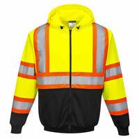 Portwest UB316 Kansas Hi-Vis Reflective Contrast Safety Work Zipped Hoodie ANSI
