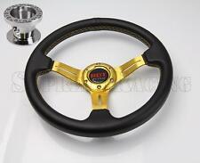 "Gold 2.5"" Deep Dish Steering Wheel + Hub Adapter For Toyota Celica Corolla MR2"