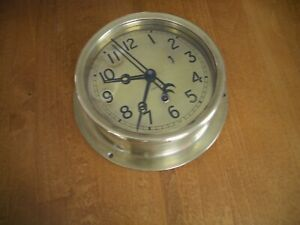 "Rare WWII Chelsea Brass Case and Brass Dial Ships Clock 6"" Dial"