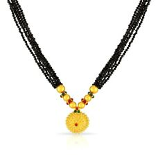 20K YELLOW GOLD HANDMADE BEADS THUSI INDIAN DESIGN NECKLACE ADJUSTABLE SIZE