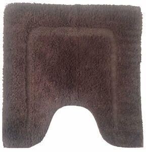 Bath Contour Mat 22 x 22 In Dark Brown Anti-Slip 100% Cotton Tufted Luxury Soft