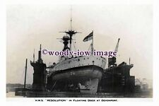 rs0044 - Royal Navy Warship - HMS Resolution in Floating Dock - photograph