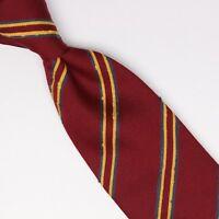 Josiah France Mens Wool Slub Silk Necktie Burgundy Gold Gray Repp Stripe Tie