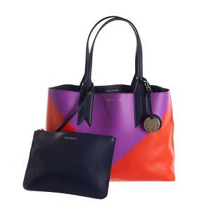 RRP €260 EMPORIO ARMANI Tote Bag Large Faux Leather Colour Block Logo Charm