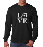 Long Sleeve LOVE Soccer T Shirt Player Ball Lover Gift Fan Team Support Dad Tee