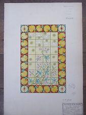DESSIN ORIGINAL AQUARELLE ARTS DECORATIFS 1898 CADRE ORNEMENTAL FLEURS OISEAUX