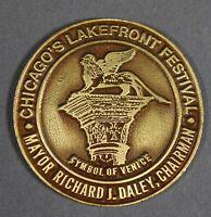 "Vtg. CHICAGO LAKEFRONT FESTIVAL Mayor RICHARD J. DALEY Medallion 2"" Round Brass"