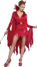 Ladies Womens Sexy Red Devil lady Halloween Costume Fancy Party Dress ladcos35