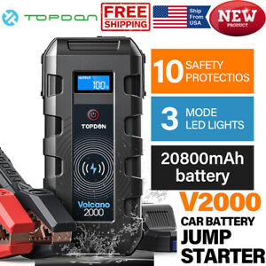 12V Vehicle 2000A Auto Jump Starter Portable Battery Booster QC3.0 USB Powerbank