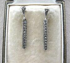 Classic Deco Inspired Marcasite & Silver Bar Drop Earrings