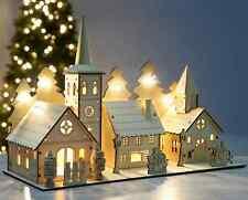 Christmas Wooden Village Scene Pre-lit LED Light Xmas Illuminated Decoration NEW