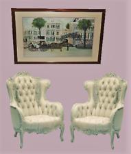 "Original Print Hand Signed 38"" Wood Frame Victorian Parlor Charleston SC Artist"