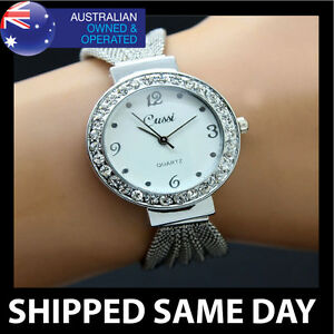 CUSSI Womens Silver Bling Bracelet Band Crystal Ladies Fashion Dress Watch 44