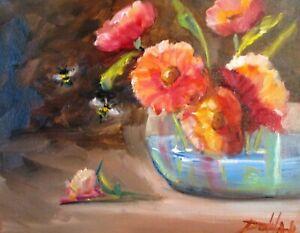 Fresh flowers floral still life 11x14 oil painting art Delilah