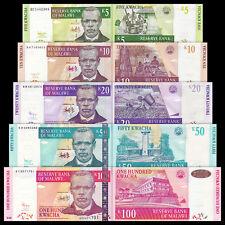 Malawi 5 + 10 + 20 + 50 + 100 Kwacha Set 5PCS BrandNew Banknotes
