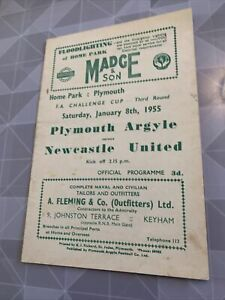 Plymouth Argyle v Newcastle United 8/1/1955 FA Cup 3
