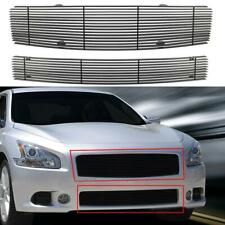 Black Horizontal Billet Grille Grill Combo Insert For 2009-2014 Nissan Maxima