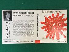 Disco Vinile 45 Giri 7''(SOLO BUSTA) GARCIA LORCA Poesie ARNOLDO FOA' CARLO BO