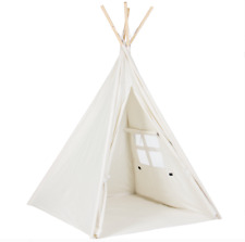 Teepee Tent Kids Indian Canvas Playhouse Sleeping Dome, Carrying Bag, 6 ft White