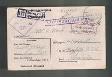 1944 Germany Stalag 8B Prisoner of War Pow Postcard Cover to Australia E King