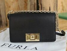 Authentic FURLA MIMI Woman Leather Shoulder Bag Small Style Crossbody Bag-Black
