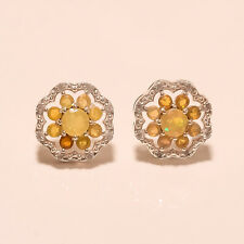 Natural Ethiopian Fire Opal Gemstone Sterling Silver Earring Stud Wedding Jewlry