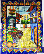 Mexican Talavera Mosaic Mural Tile Handmade Alley Flower Wagon Backsplash # 07