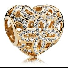 AUTHENTIC PANDORA 14k GOLD HEART LOVE AND APPRECIATION CHARM 750837CZ NEW